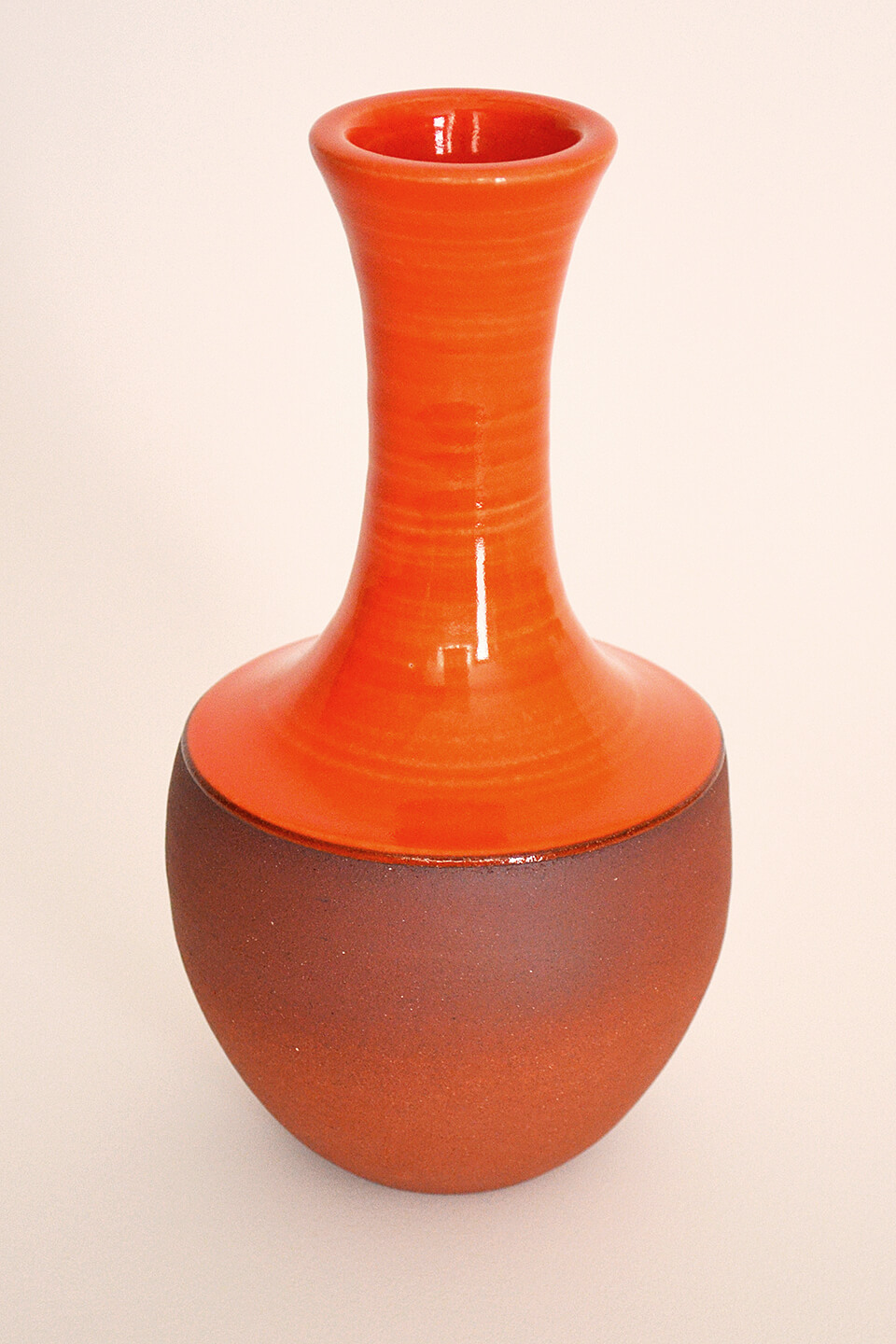 Red-Orange Ceramic Vase No. 614