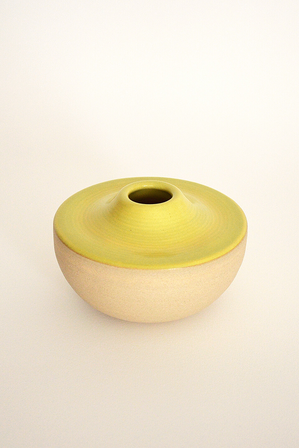 Satin Yellow Green Ceramic Vase No. 635