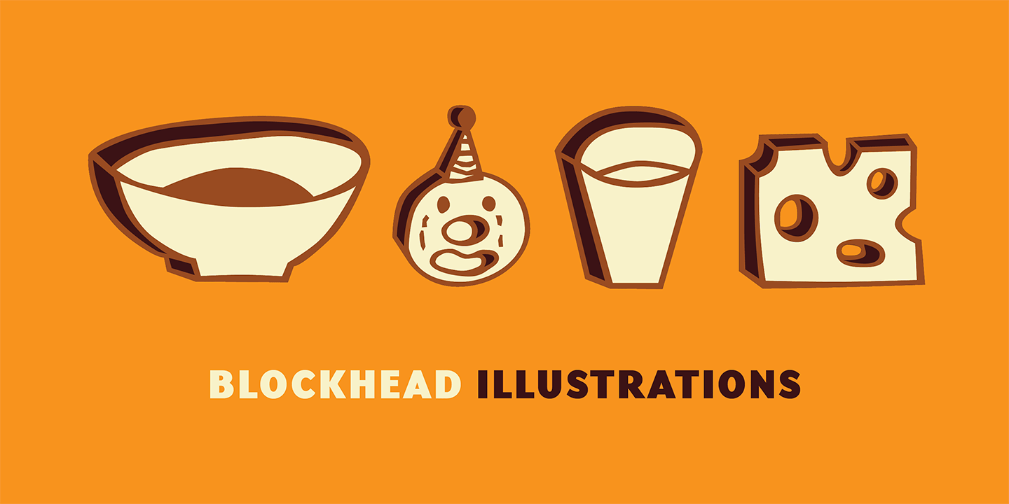 Blockhead Illustrations Font Sample 0