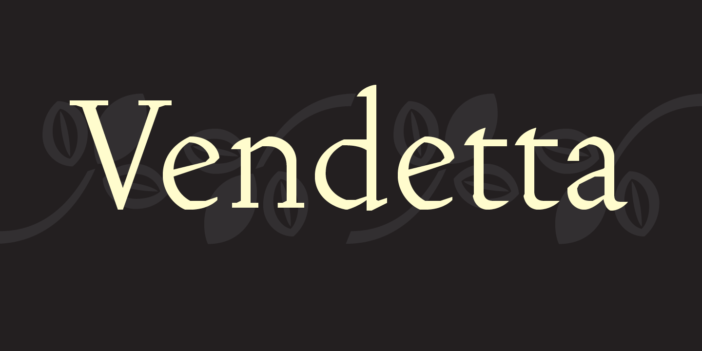 Vendetta Font Sample 0