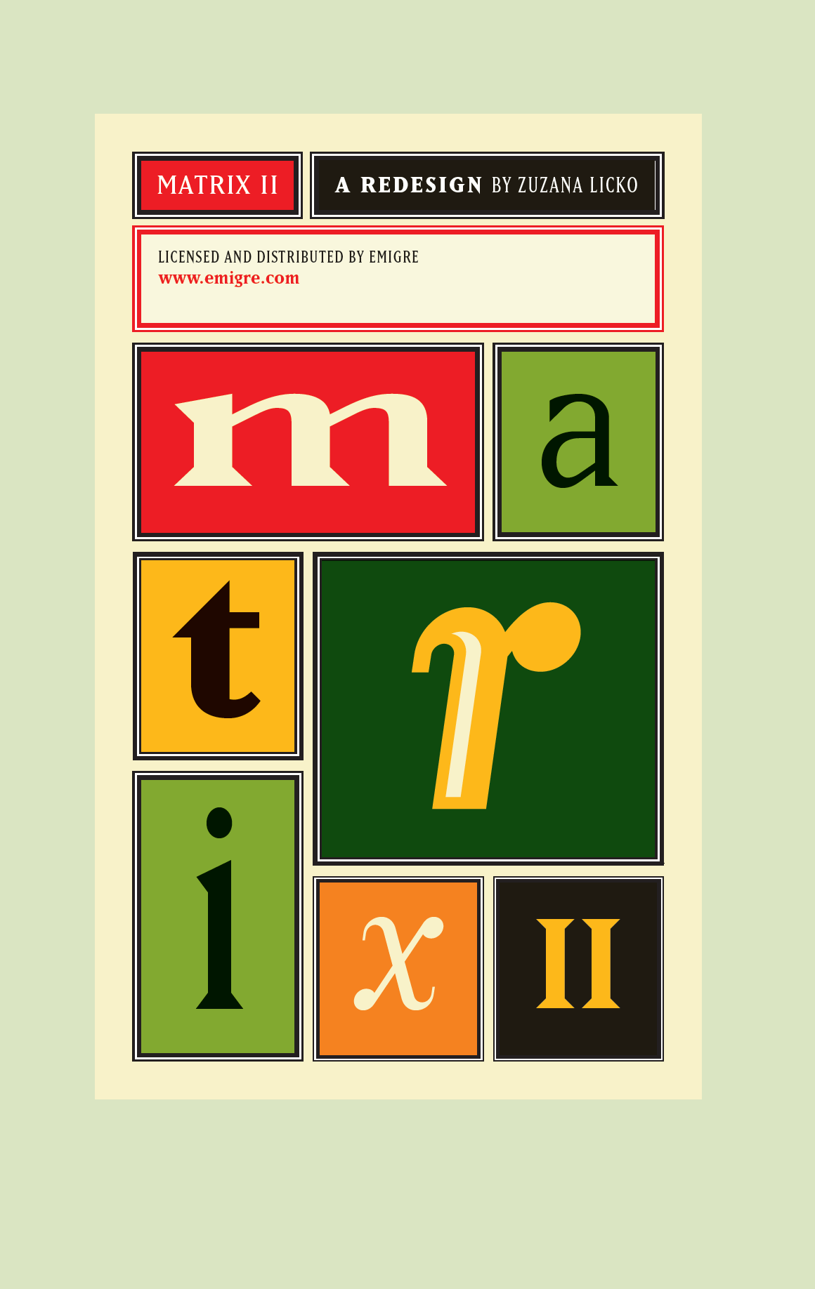Matrix II Font Specimen Catalog