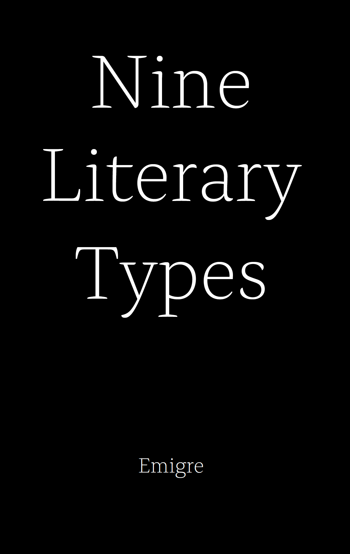 Emigre PDF Cover Nine Literary Types
